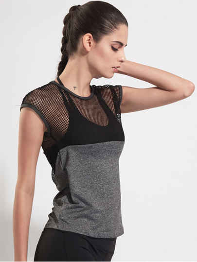 Contrast Fishnet Mesh Gym T-Shirt