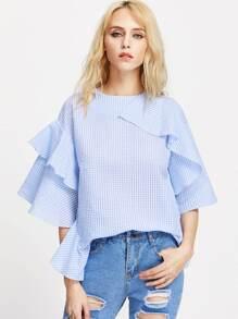Flounce Trim Kimono Sleeve Gingham Top