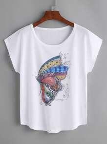 Camiseta con estampado de mariposa