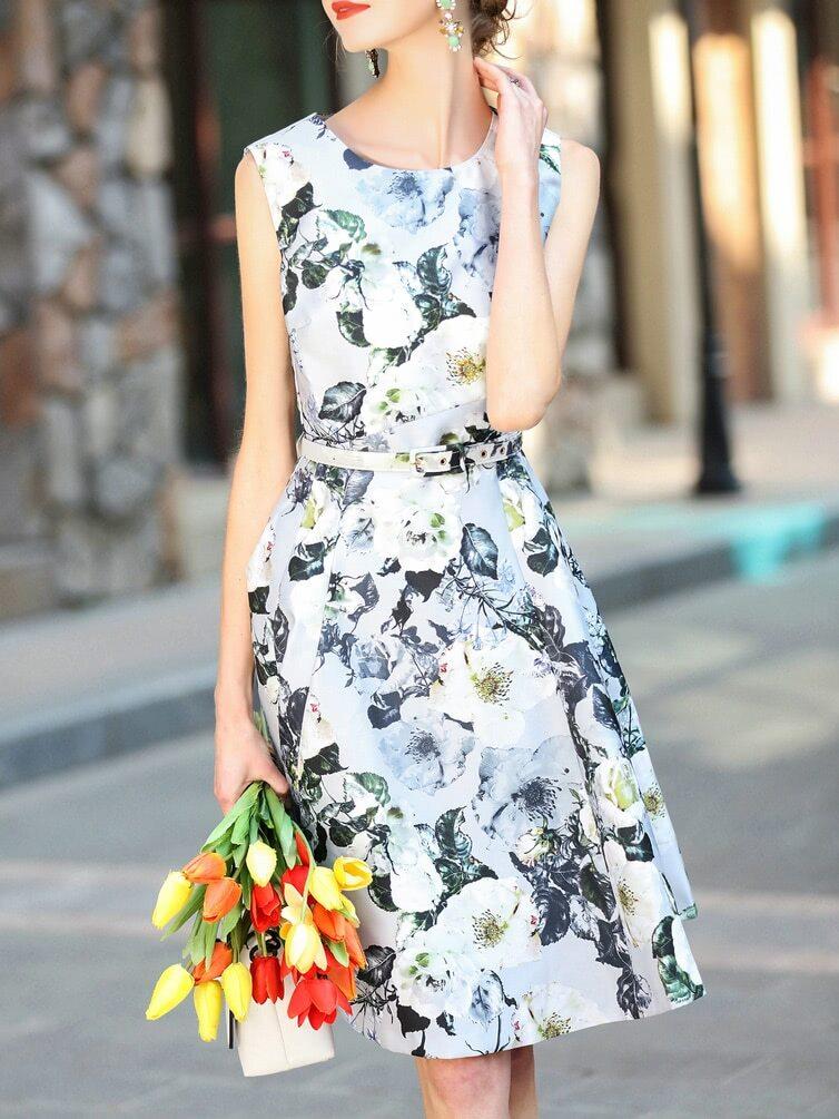 Фото Multicolor Flowers Print Belted A-Line Dress. Купить с доставкой