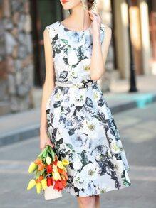 Vestido línea A estampado de flores con cordón-multicolor