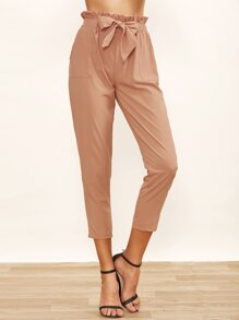 Ruffled Tie Waist Peg Leg Pants
