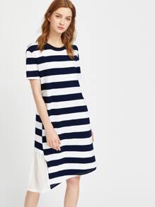 Contrast Striped Ruffle Trim Asymmetric Dress