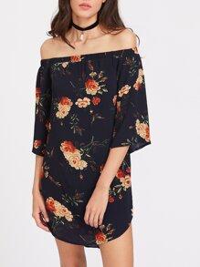 Florals Bardot 3/4 Sleeve Curved Hem Dress