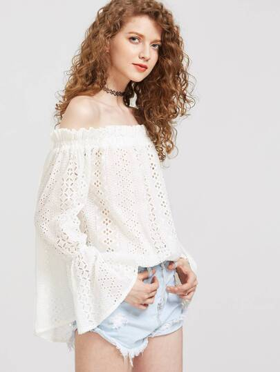 Flare Cuff Eyelet Embroidered Ruffle Bardot Top pictures