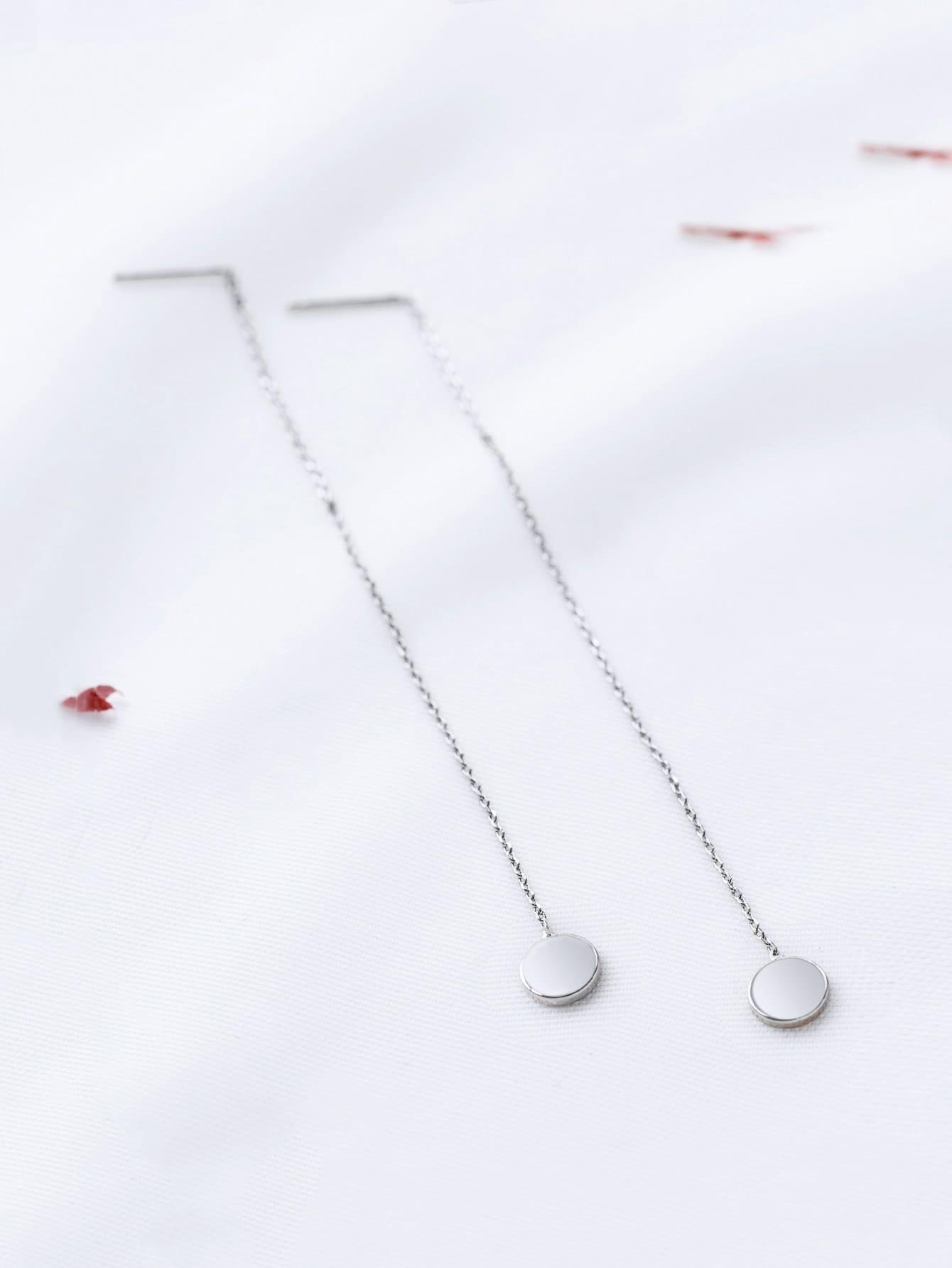 Silver Chain Strand Drop Earrings silver plated bar dangle drop earrings
