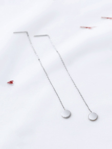 Silver Chain Strand Drop Earrings
