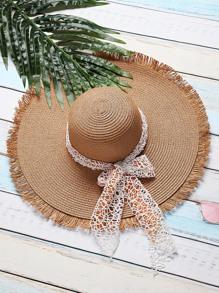 Sombrero de paja con cordón de lazo - kaki