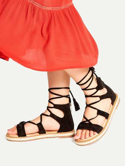 Black Lace Up Espadrille Flat Sandals With Tassel