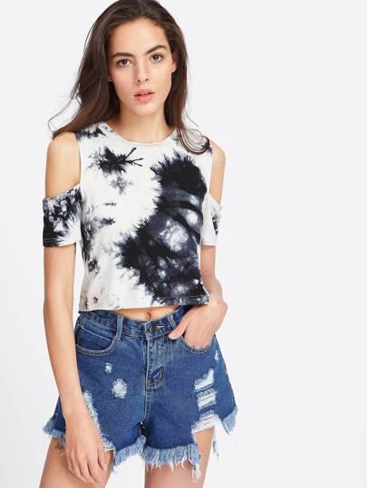 Tie Dye Open Shoulder Crop T-shirt