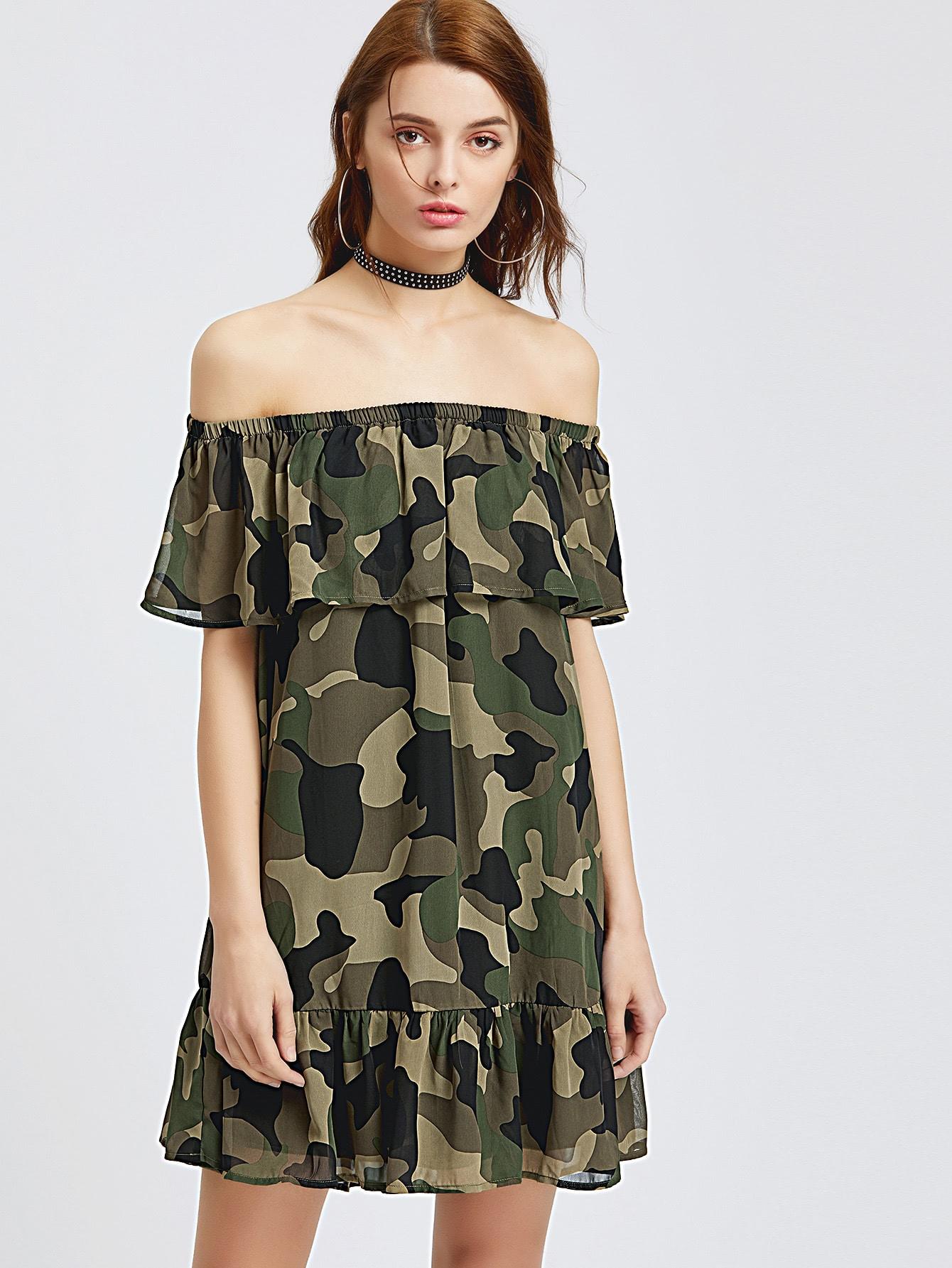 Фото Camo Print Frill Bardot Dress. Купить с доставкой
