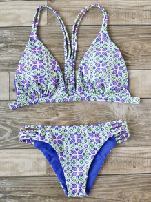 Printed Ladder Cutout Triangle Bikini Set