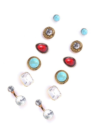Multicolor Rhinestone Vintage Earrings Set