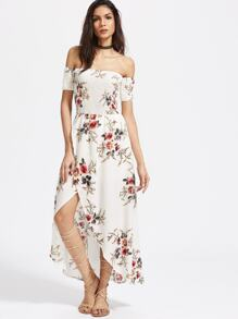 White Florals Off The Shoulder Shirred Wrap Dress