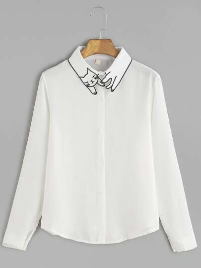 Cat Embroidery Collar Button Shirt