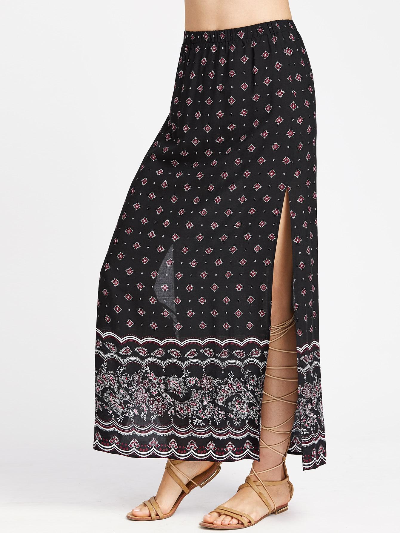 Ornate Print High Slit Side Longline Skirt