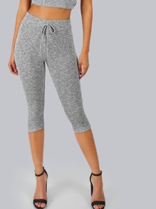 Ribbed Knit Crop Leggings HEATHER GREY