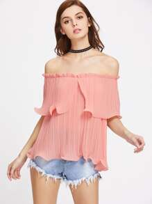 Frilled Pleated Bardot Neck Top