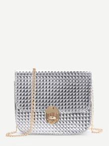 Silver Diamond Textured Twist Lock Chain Bag