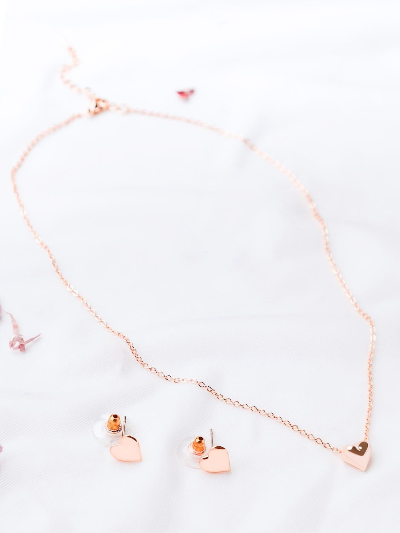 Фото Rose Gold Heart Pendant Necklace With Earrings. Купить с доставкой