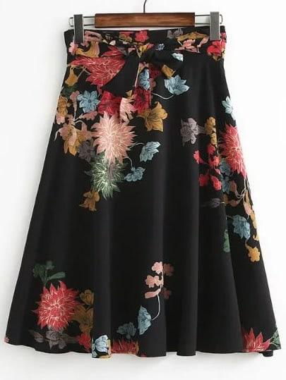 Black Flower Print A Line Skirt With Self Tie skirt170323202