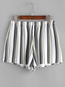 pantaloncini a righe con elastico in vita