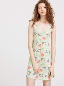 Sandwich Print Double Scoop A Line Tank Dress pictures