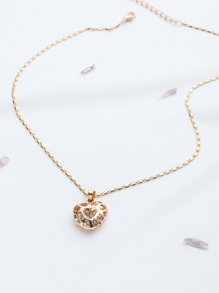 Gold Hollow Out Heart Pendant Necklace
