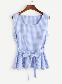 Gingham Plaid Bow Tie Front Peplum Tank Top