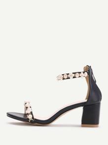 Black Faux Pearl Two Part Block Heel Sandals