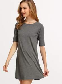 Grey Half Sleeve Casual Dress