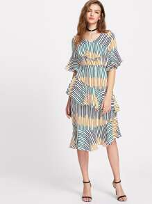 Striped Ruffle Trim Bell Cuff Dress
