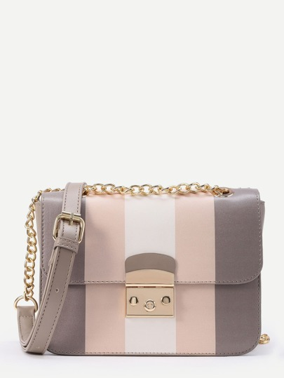 Color Block Crossbody Bag With Chain