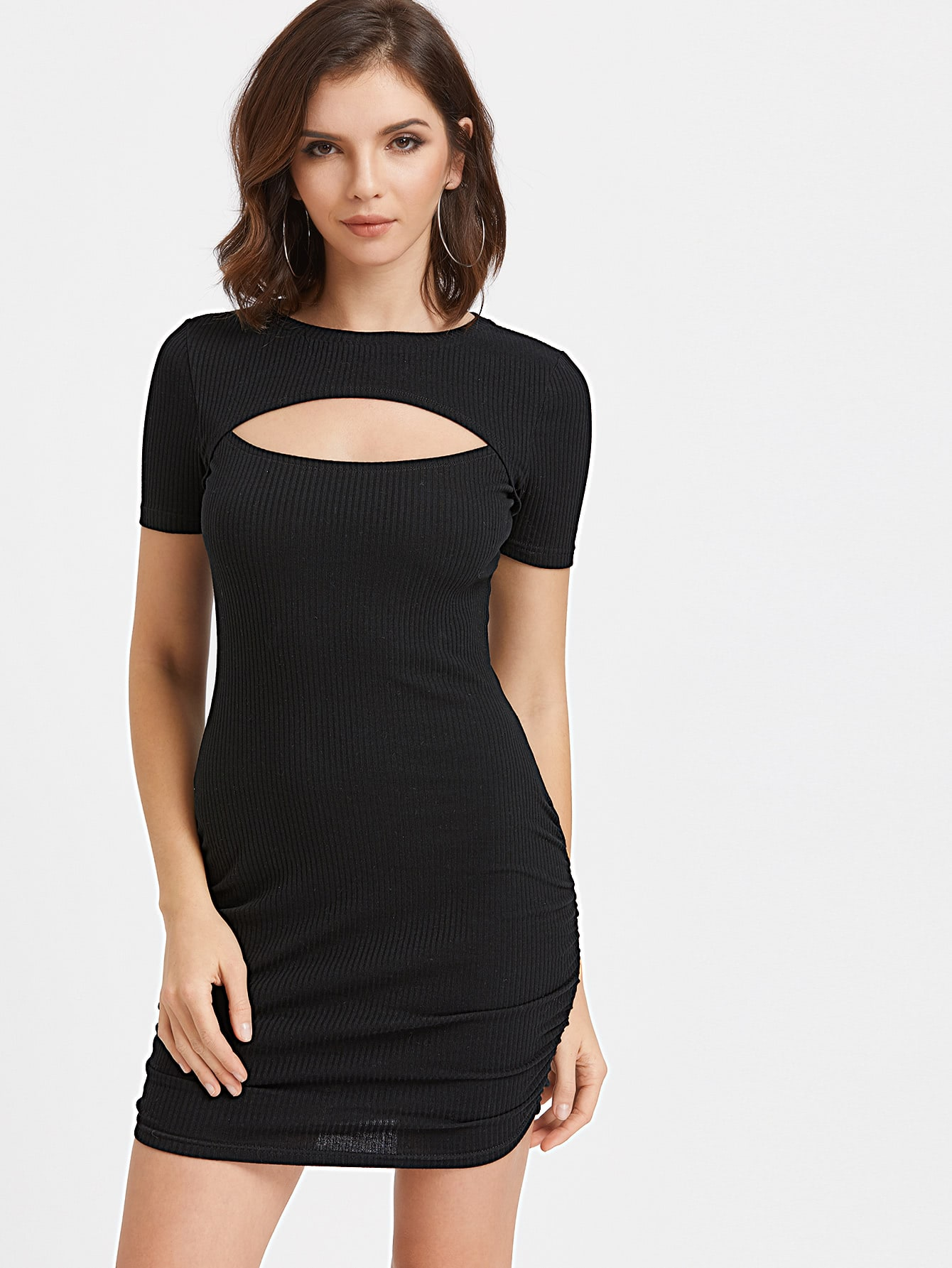 Cutout Chest Ruched Side Ribbed Bodycon Dress dress170310708