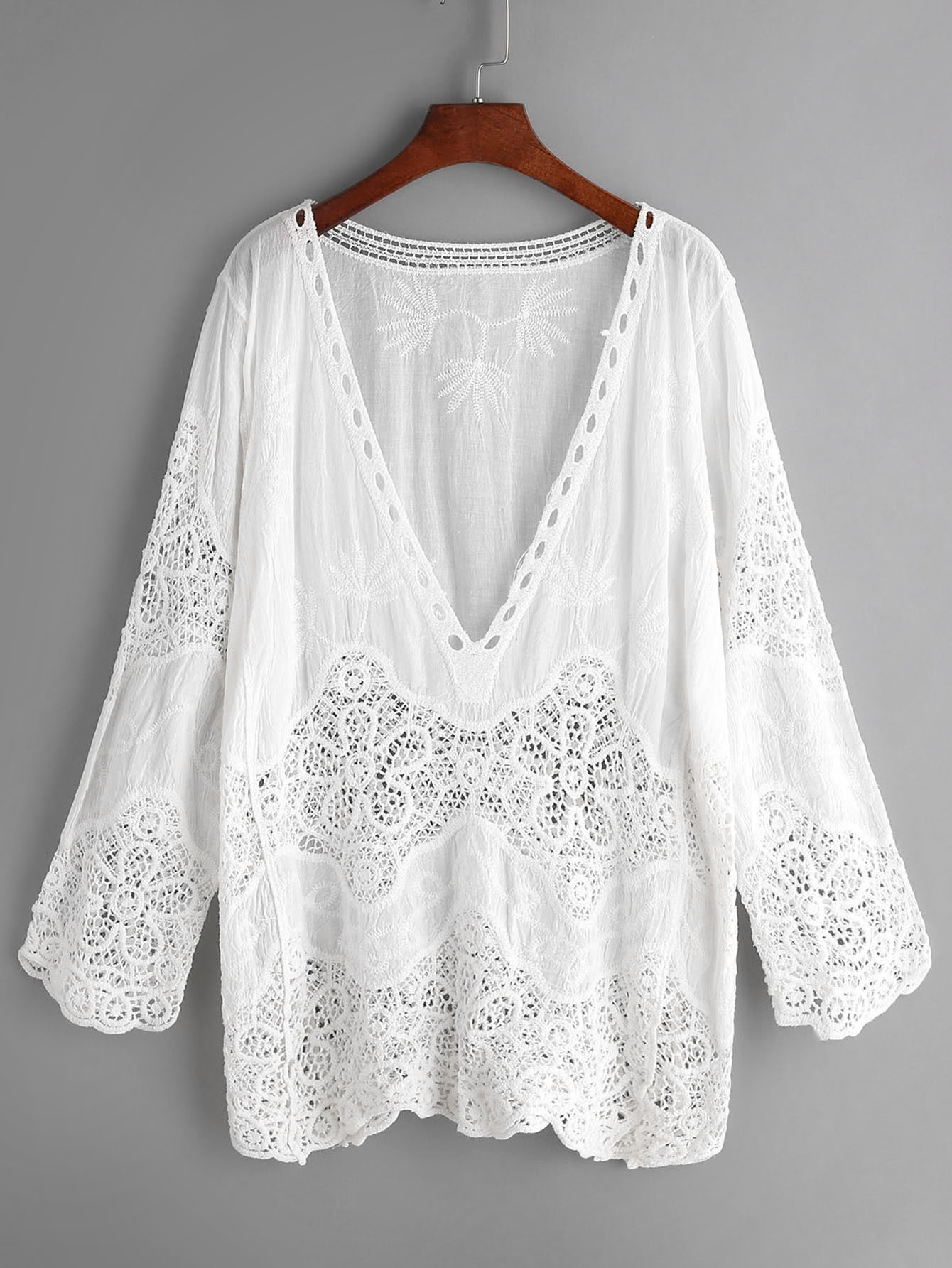 Plunge Neck Embroidered Eyelet Crochet Lace Top