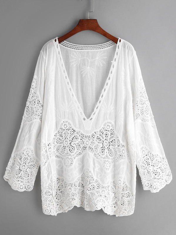 Plunge Neck Embroidered Eyelet Crochet Lace Top, null