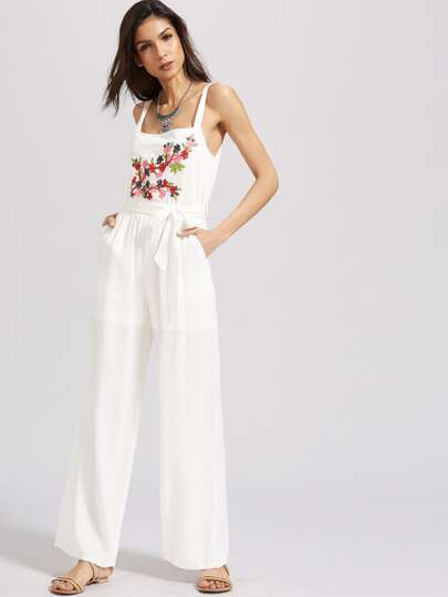 Flower Embroidered Self Tie Wide Leg Jumpsuit