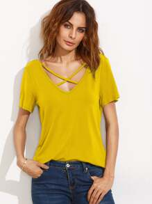 Double V Neck Crisscross Tee