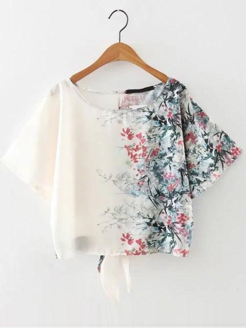 Фото Floral Print Tie Back Top. Купить с доставкой