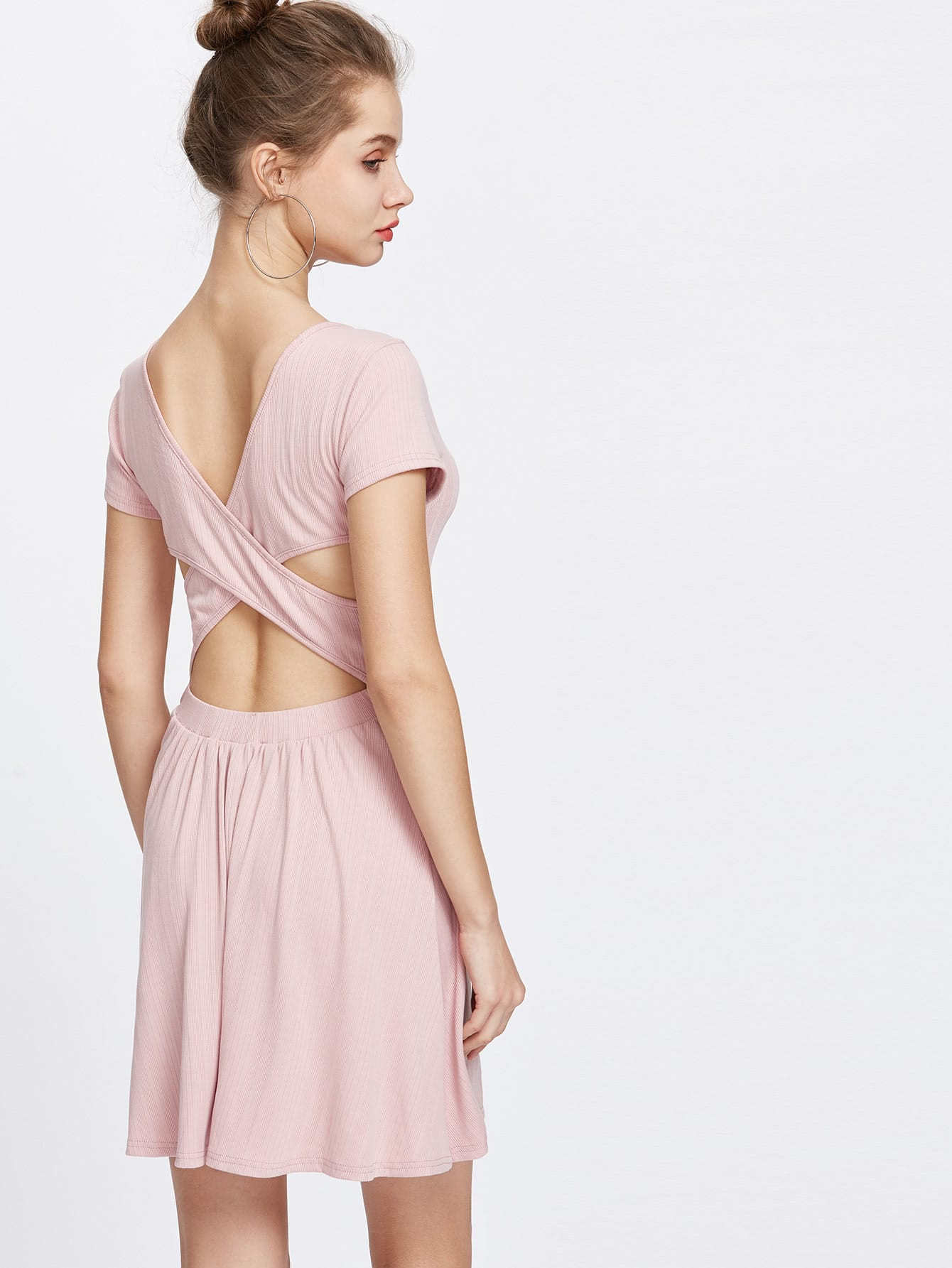 Cross Over Back Fit And Flare Ribbed Dress dress170324451