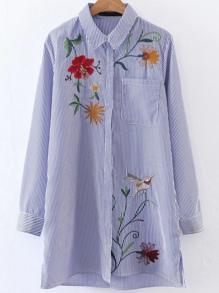 Vertical Striped Embroided Shirt Dress