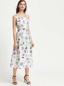 Cartoon Print Box Pleat Dress