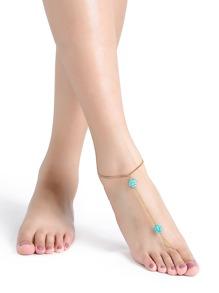 Chaîne de pied perlée turquoise