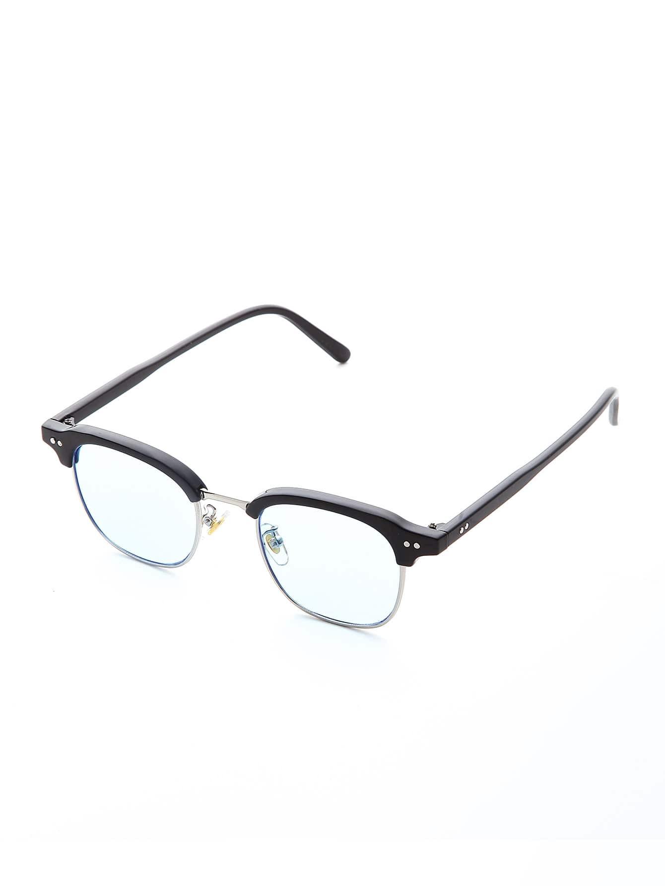 Half Frame Light Blue Lens Sunglasses sunglass170320304