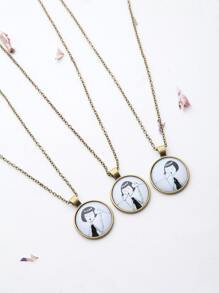 Bronze Girl Pattern Friendship Necklace Set