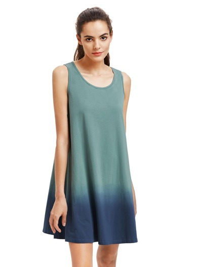 Green Sleeveless Casual Shift Dress pictures