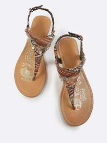 Tribal Print Gold Anklet Sandals RUST MULTI
