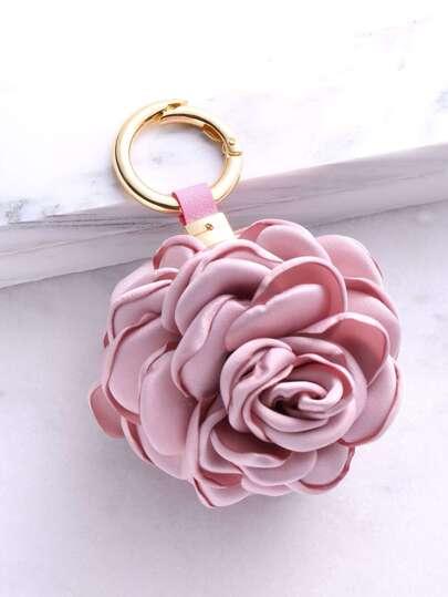 Porte-clés forme en rose - rose