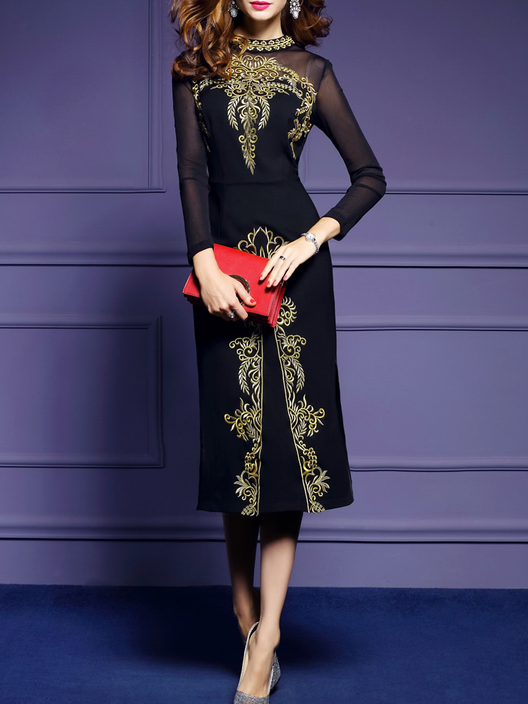 Black Sheer Embroidered Long Dress