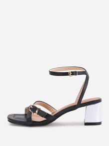 Cross Buckle Strap Block Heeled Sandals